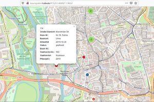 Interaktive Patenbaum-Karte für Halle