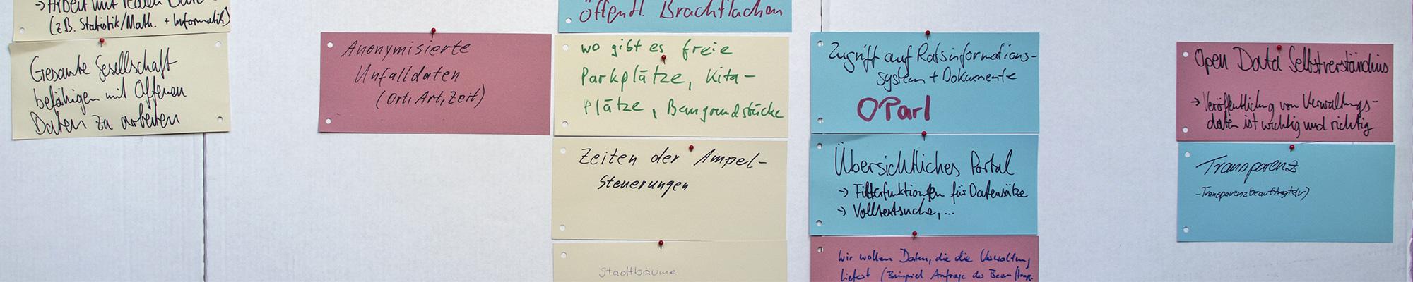 Post-its mit Notizen auf einer Wand.