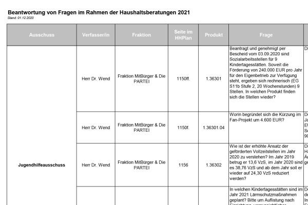 Haushalt 2021 der Stadt Halle (Saale) – Teil 6 – Die Haushaltsberatungen